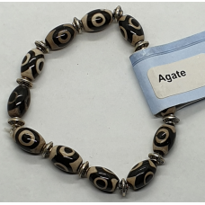 Agate - Black, small charm spacer Bracelets - Bead