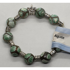 Agate - Dyed Barrel and I love you Charm Bracelets - Bead