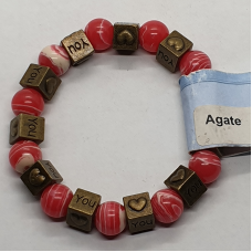 Agate - Dyed Square Charm Bracelets - Bead
