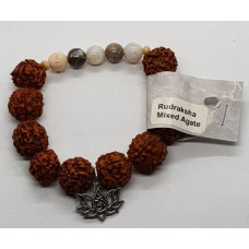 Rudraksha & Mixed Agate & Flower Chram Large Beaded Bracelets