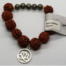 Rudraksha & Pyrite & Lotus Charm Large Beaded Bracelets