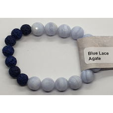 Agate - Blue Lace faceted Beads & Lava Stone Bead Bracelets