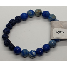Agate Blue faceted beads & Lava Stone Bead Bracelets