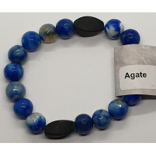 Agate Blue faceted beads & Cylinder Lava Stone Bead Bracelets