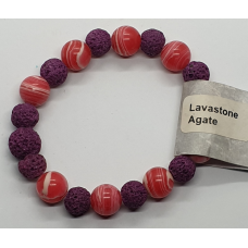 Agate Red & Lava Stone Bead Bracelets