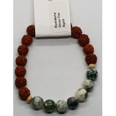 Rudraksha & Gree Tree Agate Small Beaded Bracelets