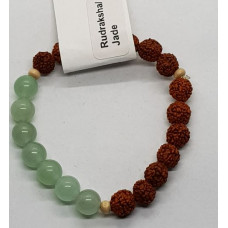 Rudraksha & Green Jade Small Beaded Bracelets