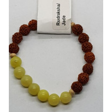 Rudraksha & Yellow Jade Small Beaded Bracelets