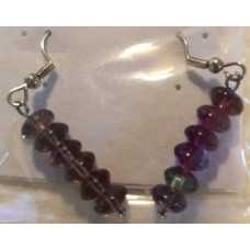 Bead Earrings - Fluorite - Purple