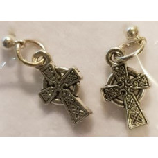 Charm Earrings - Silver - Celtic Cross