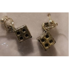 Charm Earrings - Silver - Dice