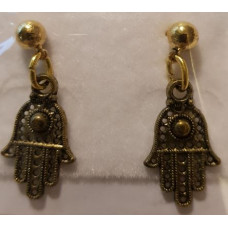 Charm Earrings - Gold - Hamsa