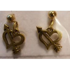 Charm Earrings - Gold - Hearts with Arrows