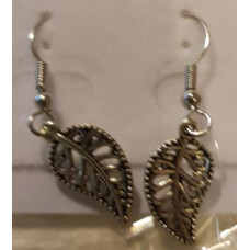 Charm Earrings - Silver - Leaf
