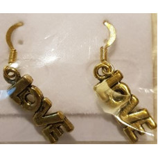 Charm Earrings - Gold - Love
