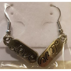 Charm Earrings - Silver - Love