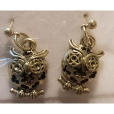Charm Earrings - Silver - Owl