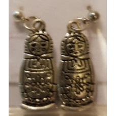 Charm Earrings - Silver - Russian Dolls