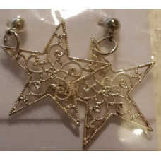 Charm Earrings - Silver - Star Filigree