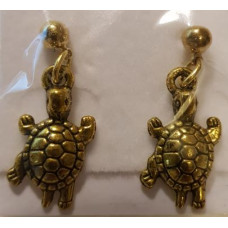 Charm Earrings - Gold - Turtles