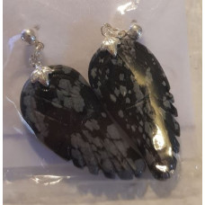 Snowflake Obsidian Angel wing earrings