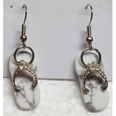 Howlite - White Thong Earrings
