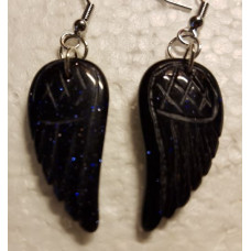 Blue Goldstone Angel wing Earrings