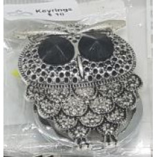 Silver Charm Keyrings - Owl Black Eyes