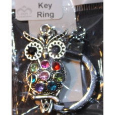 Silver Charm Keyrings - Owl with Bling