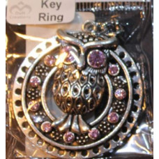 Silver Charm Keyrings - Owl with Pink