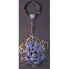 Silver Charm Keyrings - Rose Blue