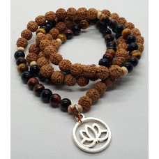 108 bead mala - Rudraksha/Mixed Tigers Eye