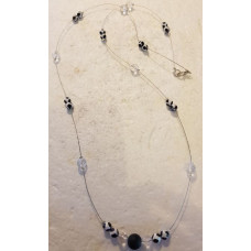 Agate & Clear Quartz - Single beaded Necklace