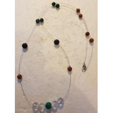 Agate & Lavastone - Single beaded Necklace