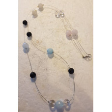 Morganite & Clear Quartz - Single beaded Necklace