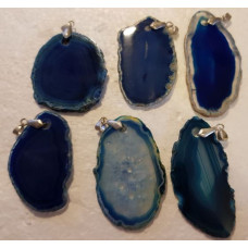 Agate Slice - Dyed Blue Pendant