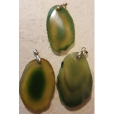 Agate Slice - Green Dyed Pendant