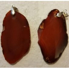 Agate Slice - Dark Orange Dyed Pendant