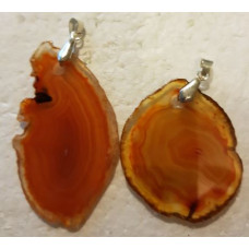 Agate Slice - Light Orange Dyed Pendant