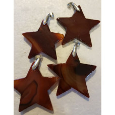 Agate Slice Star Brown Pendant