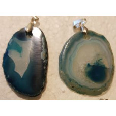 Agate Slice - Turquoise Dyed Pendant
