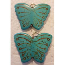 Howlite - Blue Butterfly Pendant