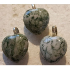 Agate - Green Tree Heart Pendants