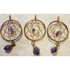 Amethyst Gold Dream Catcher Pendant