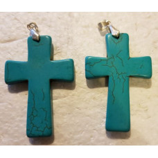 Howlite - Blue Large Cross Pendant