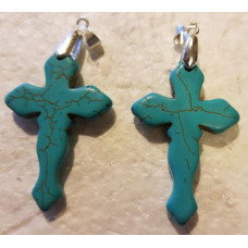 Howlite - Blue Wavy Cross Pendant