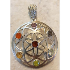 Flower of Life Chakra Silver Pendant