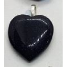 Goldstone - Blue Heart Pendants