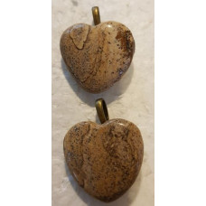 Jasper Picture Heart Pendants
