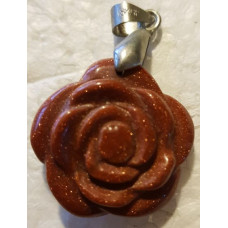 Goldstone - Red Rose Pendant